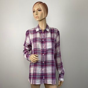 Roots Canada Button Down Plaid Shirt Small